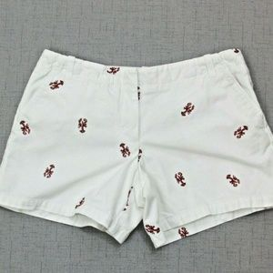 J Crew Critter 6 Lobster Shorts White Maroon Low